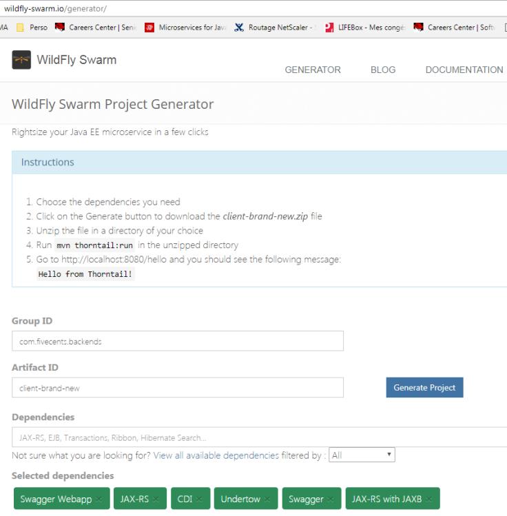 WildFly Swarm web generator
